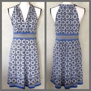NWT Max Studio Blue V-Neck Pleated Jersey Dress